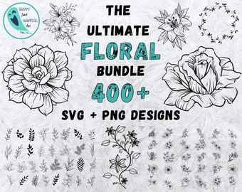 Flower Svg Bundle, Floral Svg Bundle, Flowers Bundle SVG, Wildflower SVG, Flowers Svg, Floral Svg, Rose Svg, Tree Svg Files, Flower Cricut