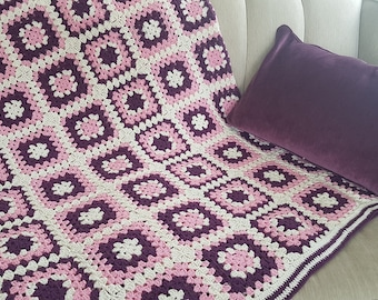 Housewarming Gifts Home Gift for Her Multicolor Boho Ethnic Armchair Cover Colorful Crochet Square Cotton Seat Shawl Blanket