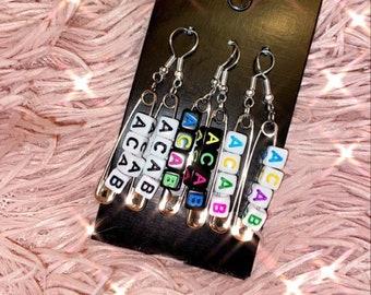 Custom star letter name  alphabet letter beads  saftey pin earrings  aesthetic