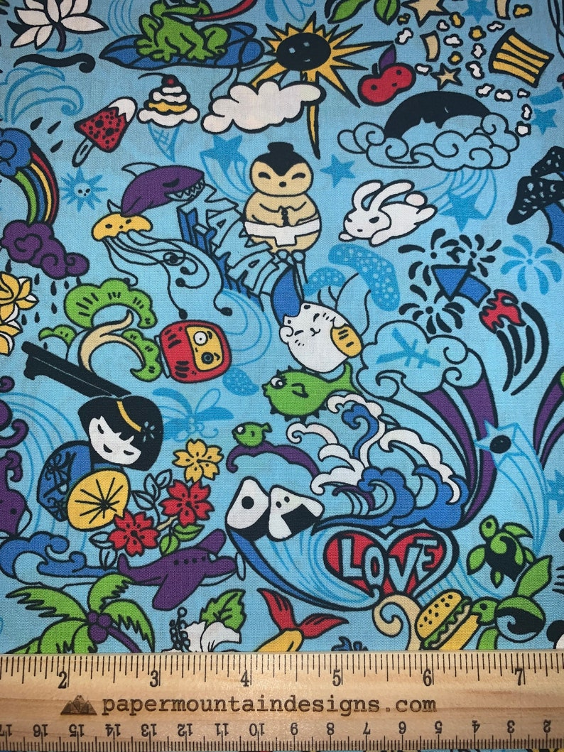 BTY Fabric Sale Sumo Crab 100/% Cotton Kawaii Tomodachi Friend Cartoon Hawaii Fabric in Blue Honu Kokeshi Sea Horse