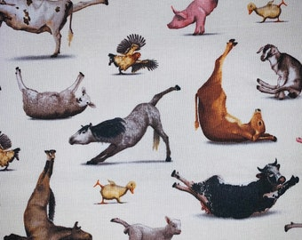 100% Cotton Yoga Is For Everyone on Cream Background- By The Yard - Cut to Order - Farm Animals doing Yoga