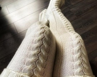 KNITTED Thigh High Stockings For Ladies Girls Cable Knit Socks