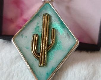 Southwest Unique Western Gift Idea Teal Cactus Necklace Mixed Metal
