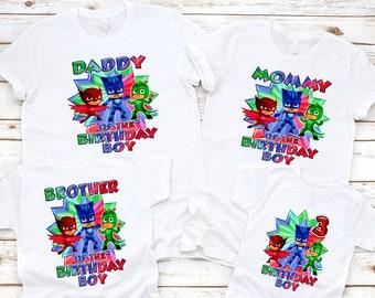 PJ Masks shirt, PJ Masks Birthday Shirt, Personalized PJ Mask, Family Matching T-Shirts, Custom Birthday