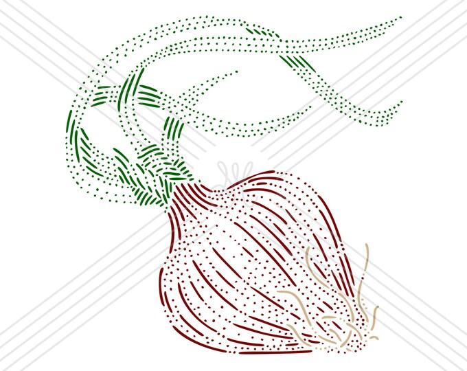 Red onion · Hand-drawn vector illustration