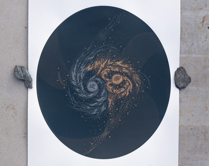 Colliding galaxies  · Limited edition handmade screen print
