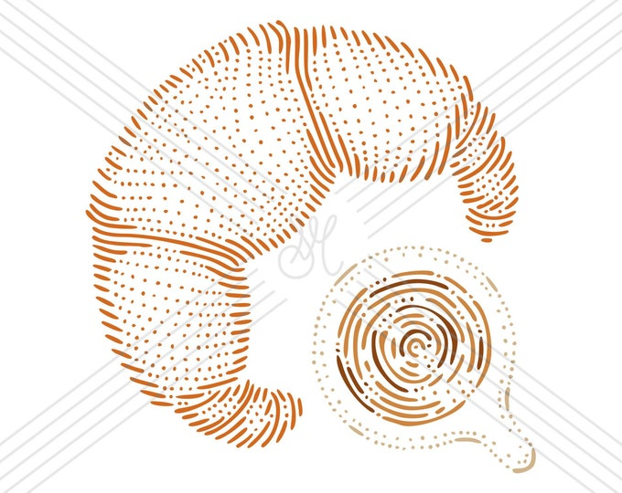 Croissant and coffee · Hand-drawn vector illustration