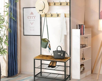 New Clothes Stand - Hat and Coat Stand Hall Tree Hallway Shoe Rack Bench with Shelves,Hooks UK