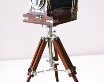 Antique Vintage Look Wooden Film Camera With Wooden Tripod ~ Home Decorative Antique Old Time Photography Camera  Collectible Studio Gift