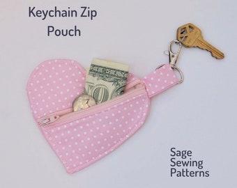 Ear Bud Holder Keychain Heart Shaped Chapstick Zipper Pouch