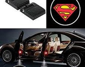 2x PCs  Superman Logo Wireless Car Door Welcome Laser Projector Shadow LED Light Emblem
