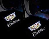 2x PCs Cadillac Logo Wireless Car Door Welcome Laser Projector Shadow LED Light Emblem