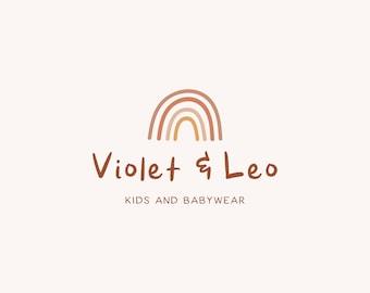 Violet & Leo Premade Logo, Ready Made Business Branding, Modern Minimalist Logo, Boho Rainbow Design for Children / Baby / Kids Branding