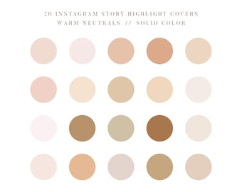 Warm Neutral Palette Instagram Story Highlight Covers, Neutral Color Palette Instagram Aesthetic, Minimalist Solid Colors Social Icons, 0510