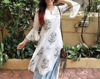 Girls Kurti set with soft cotton block printed fabric comfortable casual wear Indian Ethnic kurti set Festive wear