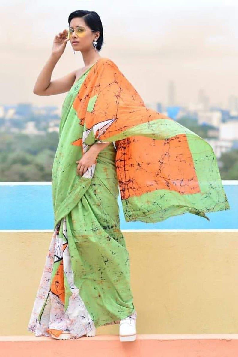 Designer Printed Cotton Malmal Sari for Women and Girls||Cotton Saree||Designer Saree||Stitched Blouse With Saree|Printed Sari|Free shipping
