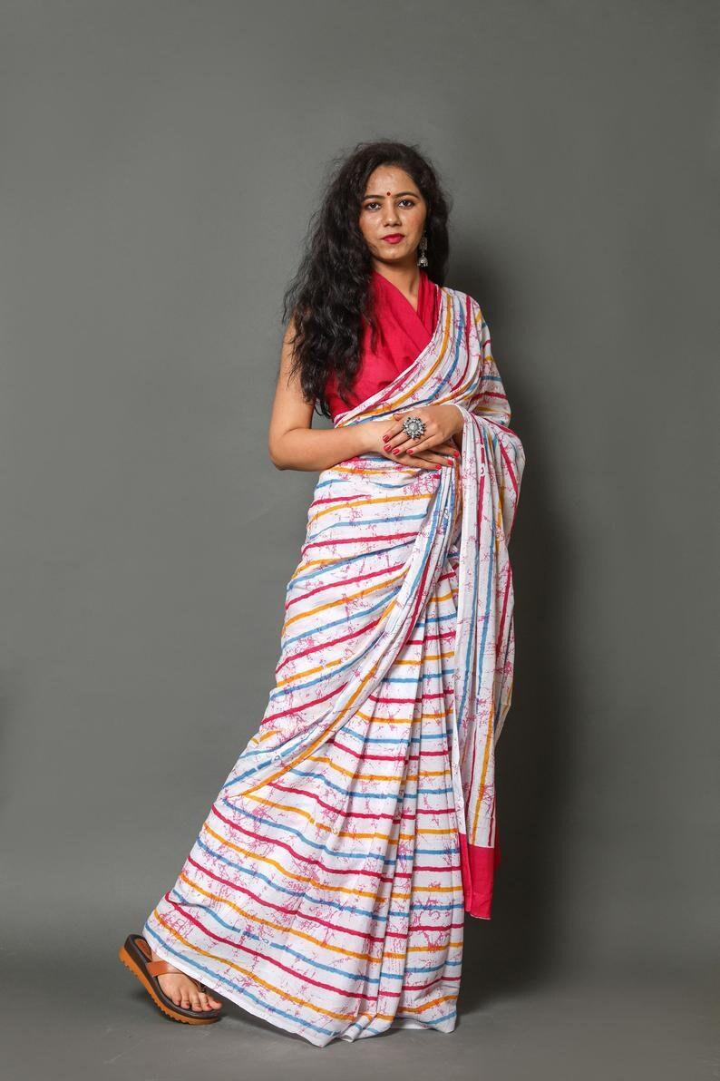 Designer Pure Cotton Malmal Saree for Women and Girls||Cotton Saree||Stitched Saree||Sari||Designer Sari||Bagru Print Saree||Printed Saree
