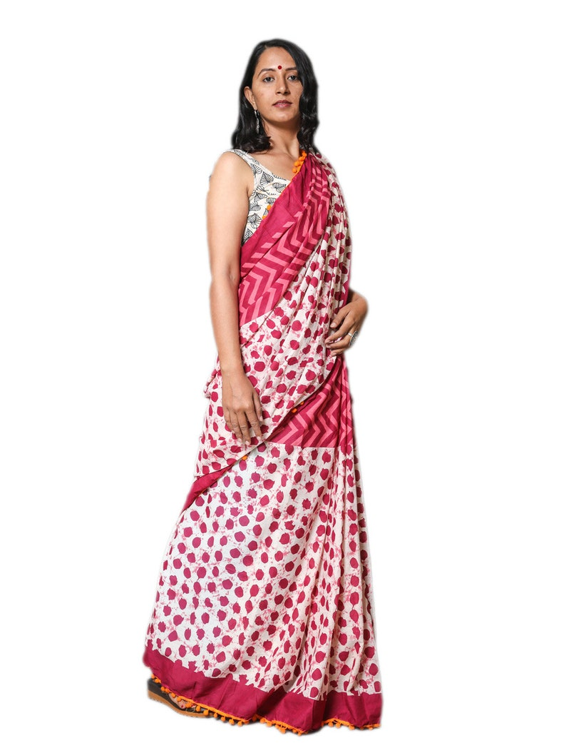 Designer Pure Chanderi /& Linen Saree With Pumpum Lace for Women and Girls  Cotton Saree  Stitched Saree Sari Designer Sari Bagru Print Saree