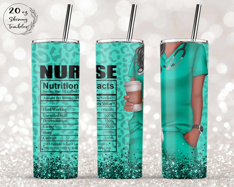 Gearhuman –   African American Nurse Glitter – 20oz – Skinny Tumbler – TH-0236