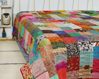 PATCHWORK KANTHA QUILT Indian Vintage Throw Blanket Cotton Bedcover Handmade Bohemian Coverlets Queen Twin size Bedspread Quilts For Sale