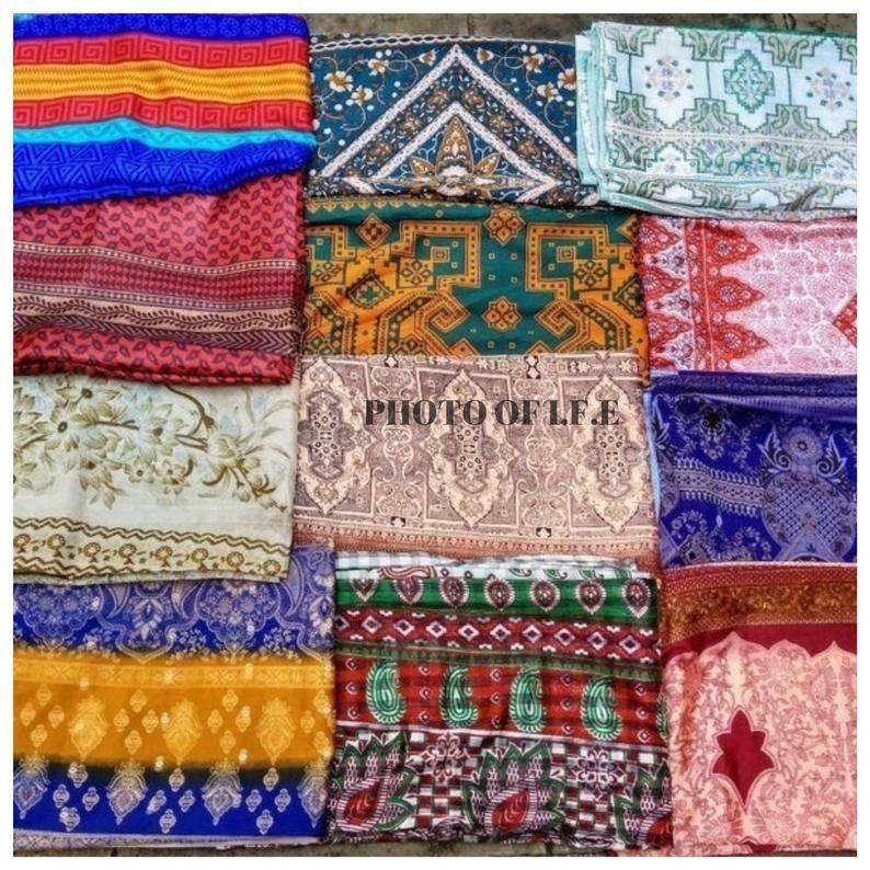 Silk Vintage Indian Traditional Floral Printed Vintage Art Silk Saree Festival Sari Dress Making Used Art Decor Craft Fabric Sari