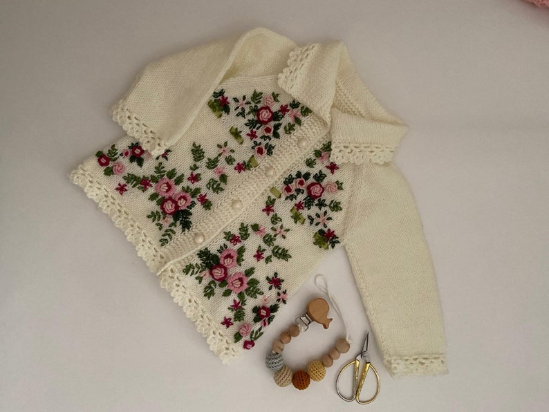 Handknit Sweater Baby Cardigan Wool Knitted Sweater with Floral Pattern Handmade Cardigan for Baby