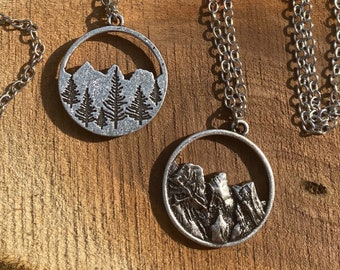 Forest Mountain Reversible Necklace - Metal stamped by hand