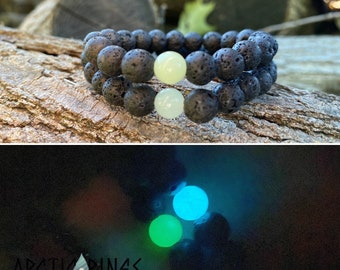 Long Distance Couples Bracelet / Friendship Bracelet / Lava Rock / Glowing Bead (Price per 1 bracelet)