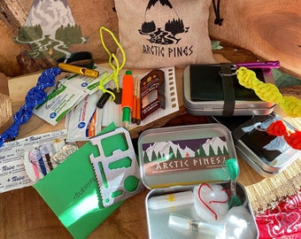 Backwoods Survival Tin - Pocket Altoid Kit - Emergency Pack - Car First Aid - Wilderness Hiking Kit