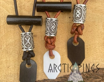 Viking OVAL Runic Firestarting Necklace / Norse - Rune bead firestarter necklace - Survival Backpacking EDC Hiking Camping