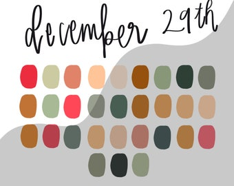 DECEMEBER 29TH procreate palette/instant download
