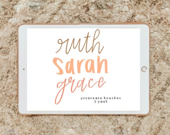3 pack procreate brushes/instant download (ruth, sarah, and grace)