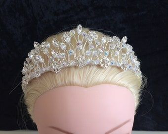Unique bride Snowflake, ice queen, winter Tiara silver clear crystal, no pearls, UK handmade with Swarovski crystal, & gift keepsake box