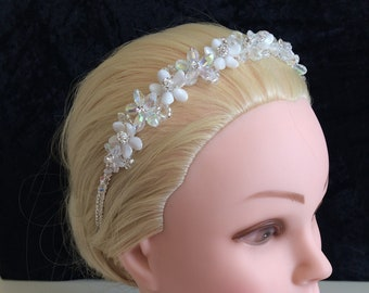 Unique bride silver flowers, glitterball headband crystals, seed beads, small ivory pearls, UK handmade with Swarovski & gift keepsake box