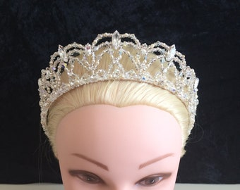 Unique bride Tiara silver, big loops, marquise, ivory pearls, UK handmade with Swarovski crystal, & gift keepsake box