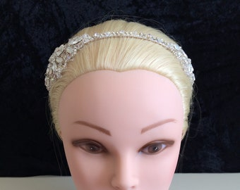 Unique bride Double sided white opal on sides silver sparkle headband, no pearls, UK handmade with Swarovski crystals, & gift keepsake box