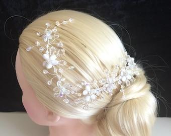 Unique bride long flowers comb hair vine, glitterball back or side of hair no pearls UK handmade with Swarovski crystal, & gift keepsake box
