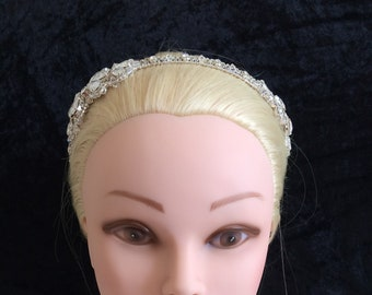 Unique bride Double sided bow shape on sides silver sparkle headband, no pearls, UK handmade with Swarovski crystals, & gift keepsake box