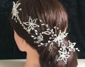Unique bride band circlet, comb pins hair vines set, flower clear crystal, no pearl, UK handmade with Swarovski crystal, & gift keepsake box