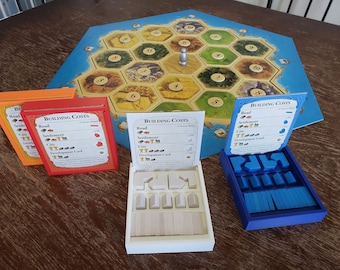 Catan player tray & game piece holder and organizer and storage