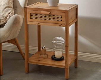 2021 Vintage Nightstand End Table Side Table with Woven Pattern Drawer and Shelf Storage, Rustic Farmhouse Style 17.5 x 14 x 26.3 inches