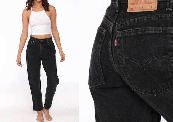 Vintage Levis 550 Black Jeans 27 -- 80s Denim Blac
