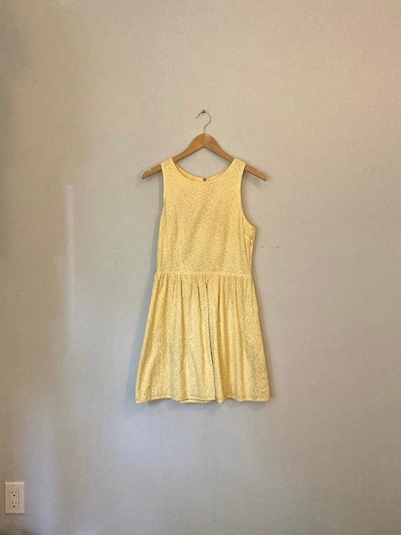 Light Yellow Sleeveless Summer Dress, Fit and Flar