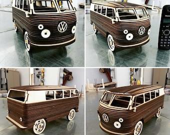 Cnc minibus camper toy, plywood car model cnc file,file cnc,laser cutting,cnc,file laser,laser cut,cnc plan,dxf file,eps file,file svg