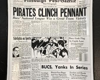 1960 Pittsburgh Post-Gazette World Series Tray