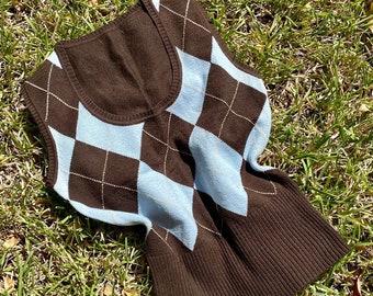 Vintage y2k baby blue and brown argyle sweater vest