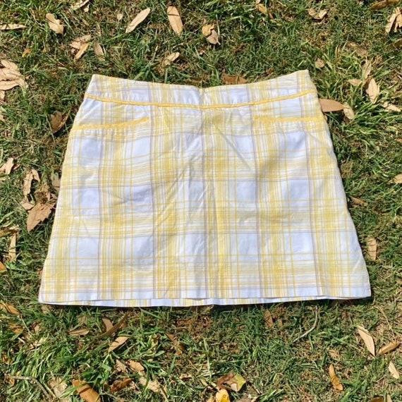 Vintage Y2K preppy minimal spring plaid mini skirt