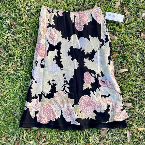 Vintage 90s Asian floral + cloud print chiffon mid