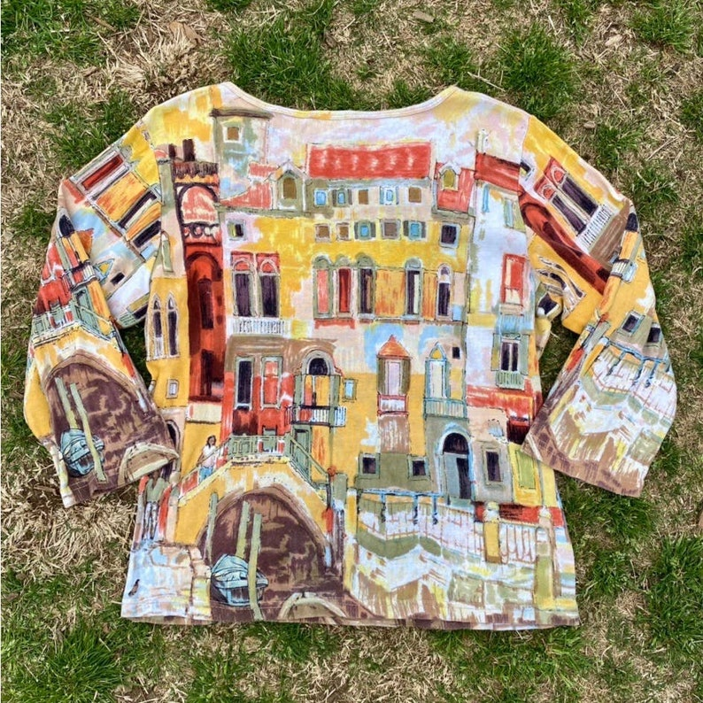 Vintage Y2K pastel watercolor city town all over graphic print top