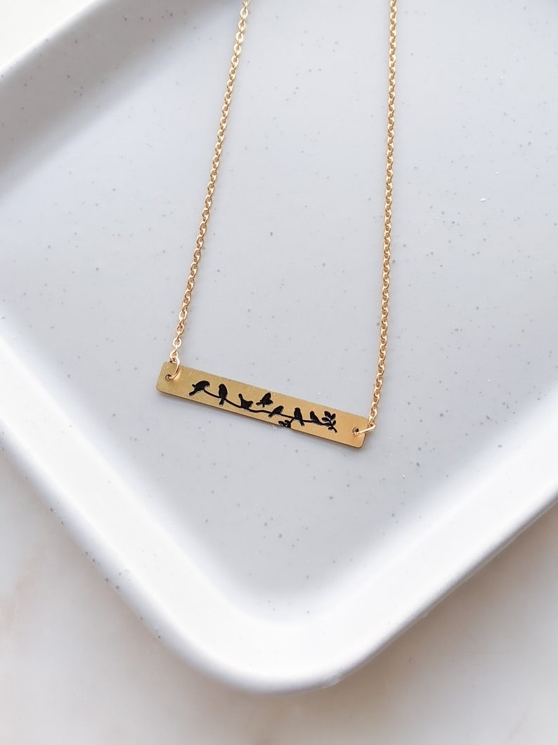 SKU: N007 Birds on a Branch Necklace Bar Necklace with Bird Gold Birds Jewelry